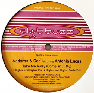 "Addams & Gee ft Antonia Lucas - Take Me Away (Come With Me) (12"") (Promo) (VG-/NM)"